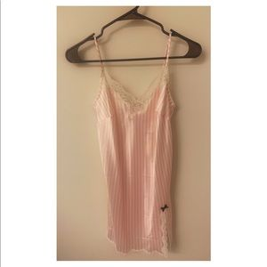 Pink and white striped silk night slip